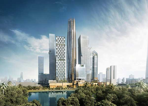 "The 16.7 hectares development ""city-within-a-city"" will comprise five grade A office towers, five luxury hotels, three residential complexes, multiple retail zones, with space for arts and culture. © 2018 One Bangkok"